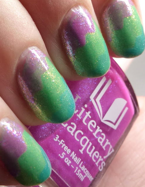 Ever After Polish and Literary Lacquers Peter Rabbit Quartet tape nail art