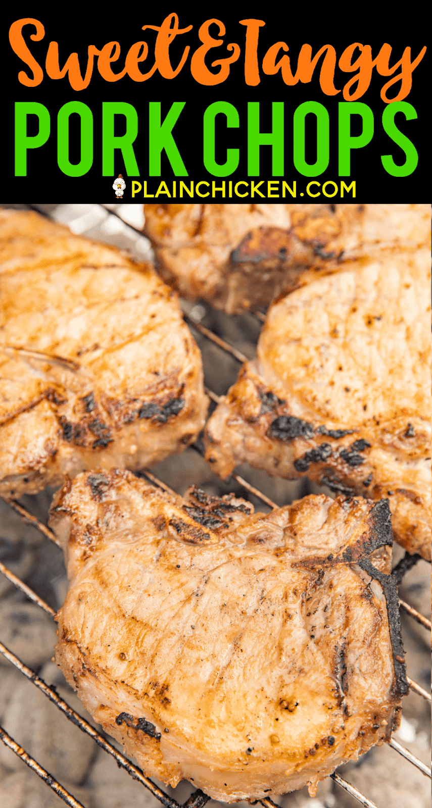 Sweet and Tangy Grilled Pork Chops Recipe - pork chops marinated in cider vinegar, dijon mustard, garlic, lemon juice, lime juice, salt, pepper and brown sugar. THE BEST! We make this at least twice a month!! Can let the pork chops marinate all night in the refrigerator. They are better the longer they marinate. These are our all-time favorite pork chops! #grilling #pork #porkchops #grill