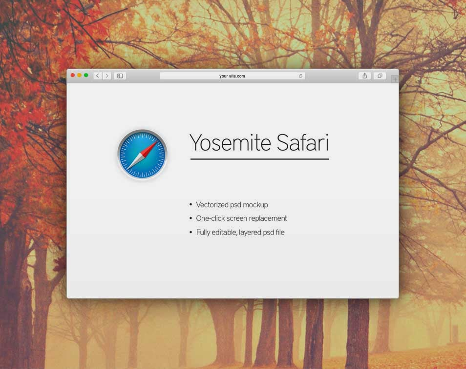 Yosemite Safari Browser Mockup