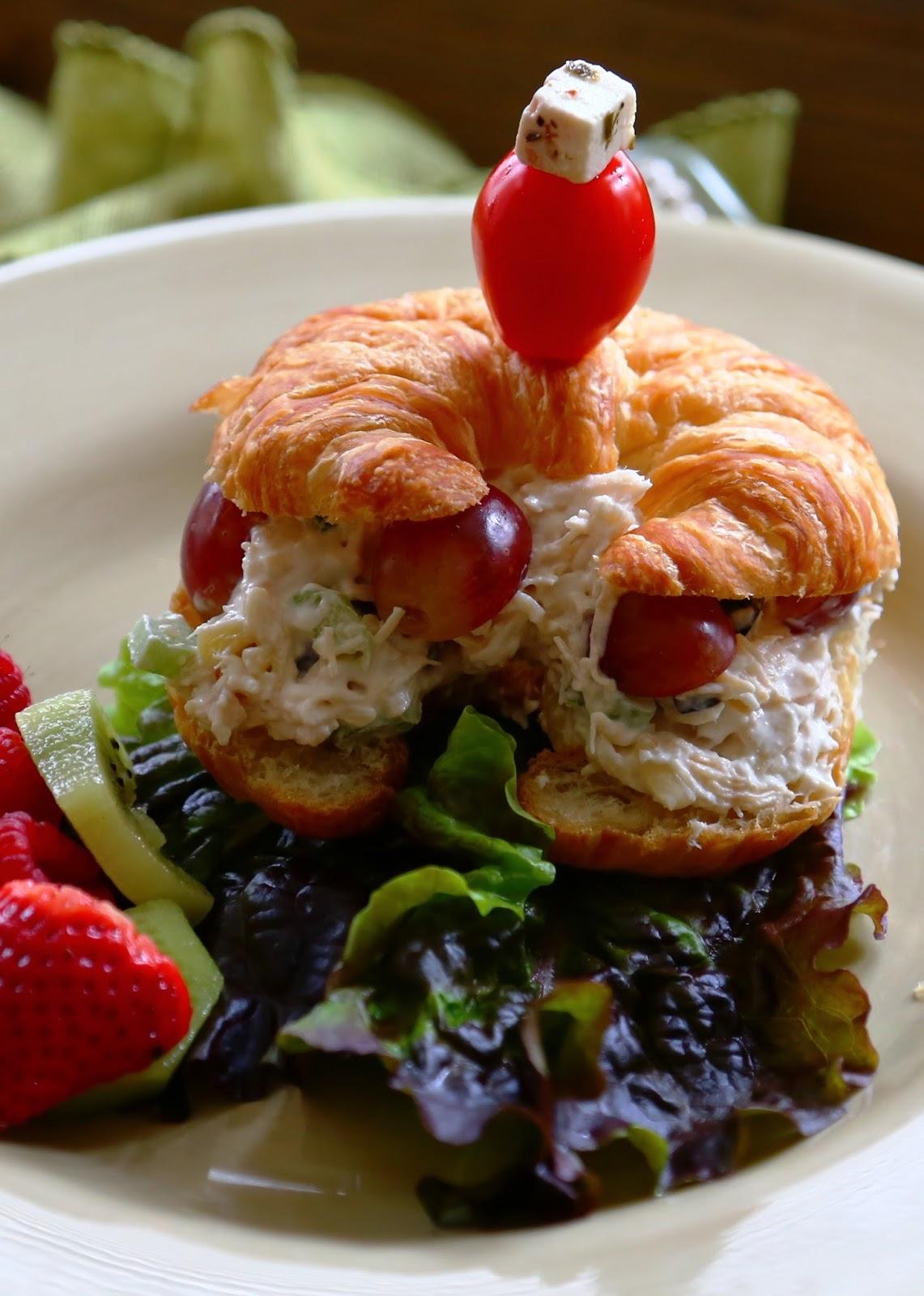 Decorated Mantel Chicken Salad Croissant Sandwiches