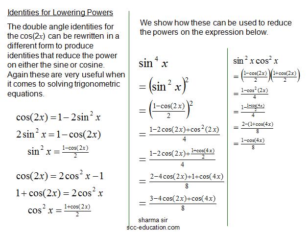 Analytic Trigonometry Double-Angle, Half-Angle and Product-Sum Formulas,formula sheet,