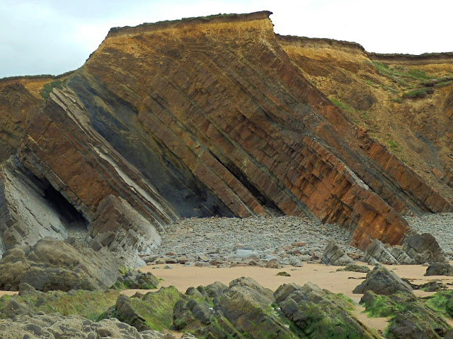 Showing rock formation of cliffs at Northcott Mouth, Cornwall