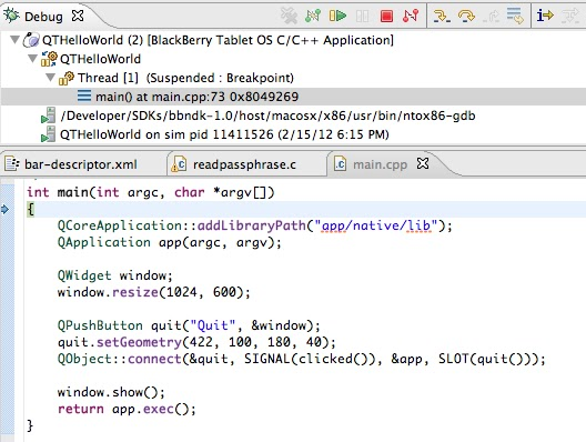 BGmot: QTHelloWorld in Momentics IDE for Blackberry Playbook
