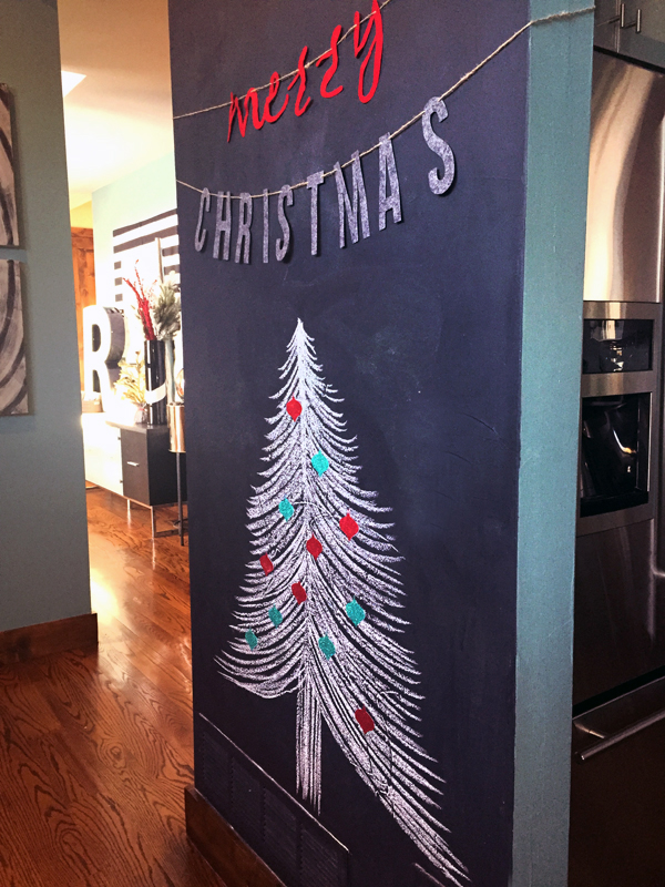 Chalkboard Wall Christmas Tree with Ornament Magnets