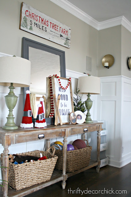 Christmas vignette with Santa hats