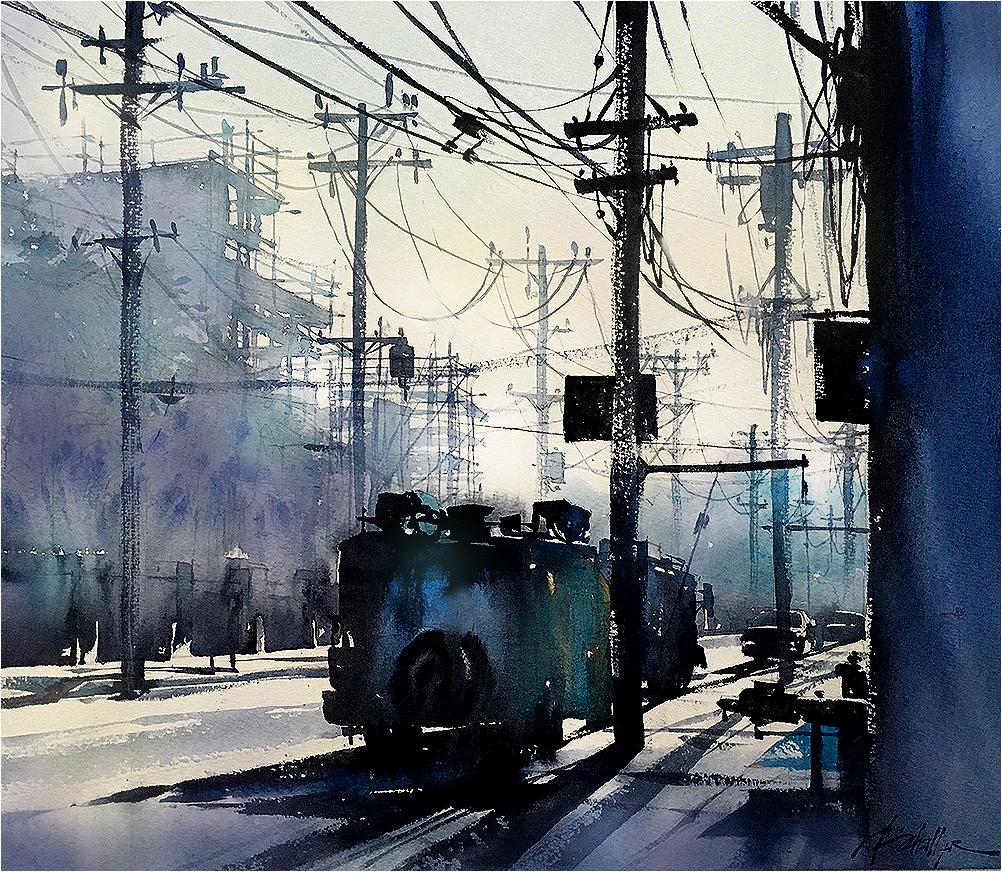 Four Elements Watercolour Artist Tuffytats: Thomas W Schaller: Glencoe Avenue Morning