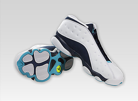 312d6ce7c29 Here's the Air Jordan XIII (13) Retro Low in the White / Midnight Navy-Turquoise  Blue-Metallic Silver colorway. These kix feature leather construction and  ...