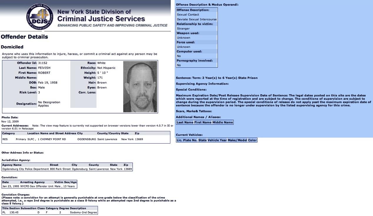 new york state registered sex offender registry in Delta