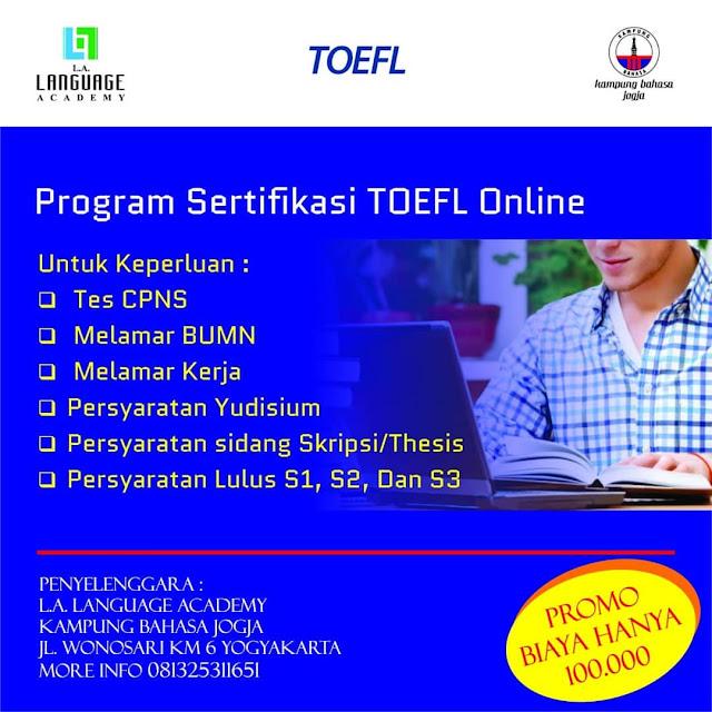 Program Setifikasi TOEFL Online 2019 L.A Umum