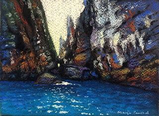 An original soft pastel painting of a scene from Phi Phi Leh ( Thailand ). By Manju Panchal