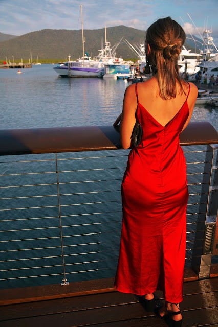 low back red maxi slip dress