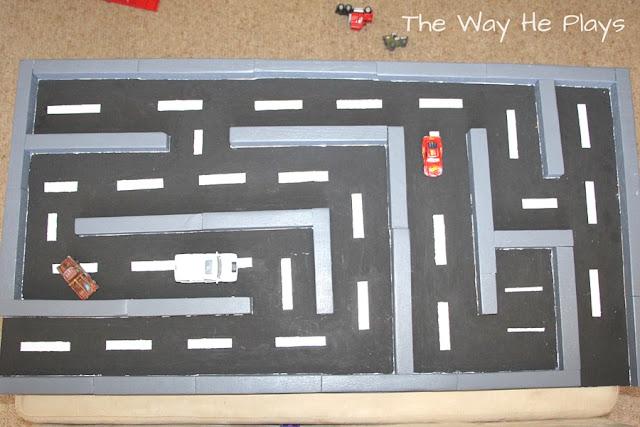 Bird's eye view of wooden car maze