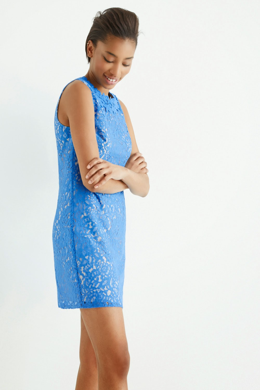 Oasis Blue Lace Trimmed Oriental Shift Dress