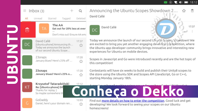 Dekko - cliente de e-mail do Ubuntu