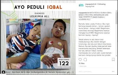 Caption anak yang sedang menderita penyakit leukimia (instagram @siapapeduli.id)