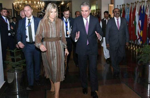 Queen Maxima wore Zeus + Dione Hera midi textured silk dress. The Queen met Foreign Minister Shah Mehmood Qureshi