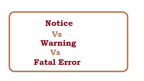 Difference between Notice and warning and fatal error