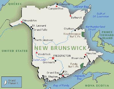 Climbing My Family Tree: Map of New Brunswick Canada