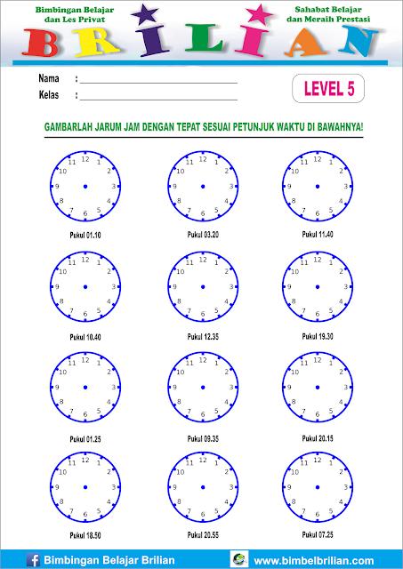 Lembar Latihan Soal Menggambar Jarum Jam Yang Bisa Dicetak - Level 1