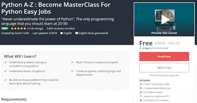 [100% Off] Python A-Z : Become MasterClass For Python Easy Jobs| Worth 194,99$