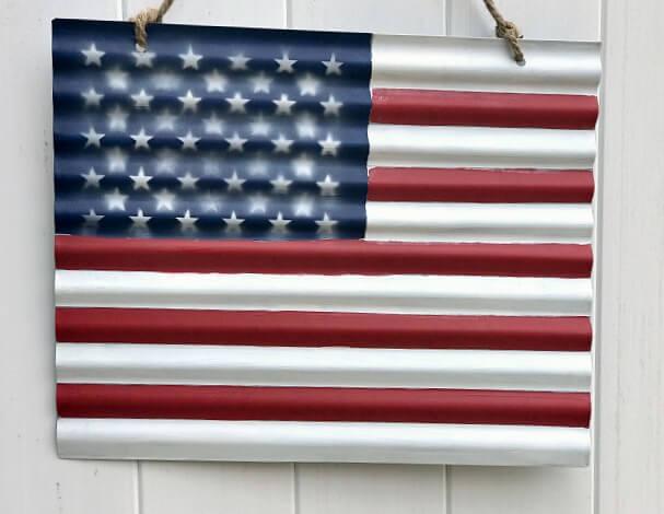 Corrugated metal DIY flag