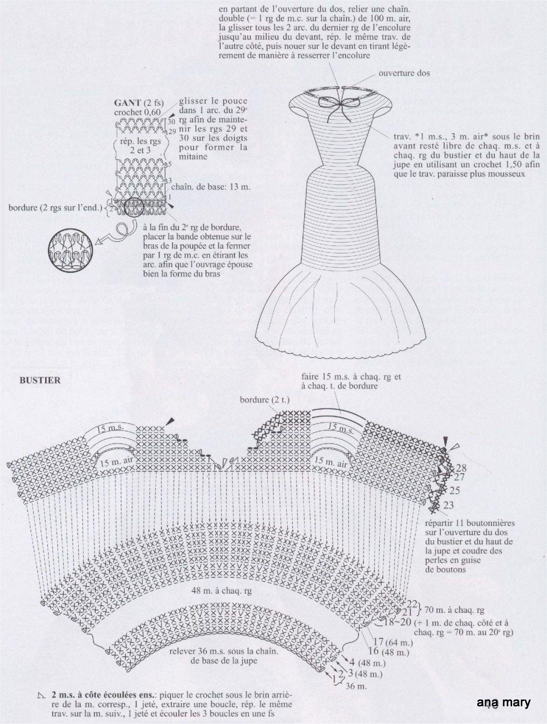 Vestido, sombrinha e chapéu de crochê para Barbie com gráficos revista 1000 Mailles Robes de Poupées