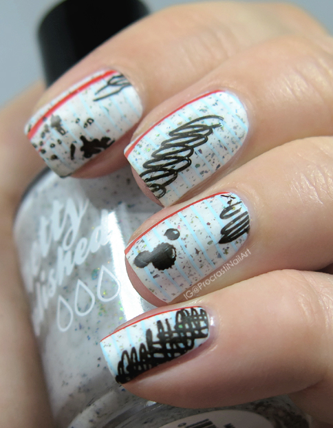 Nail art the digit al dozen does paper scribble paper nails you guys i have missed doing nail art so much things have been so busy that i just havent had time but sitting down to paint my nails and come up with prinsesfo Gallery