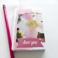 mit Strich und Faden: Notizblock Collage mit Blumen