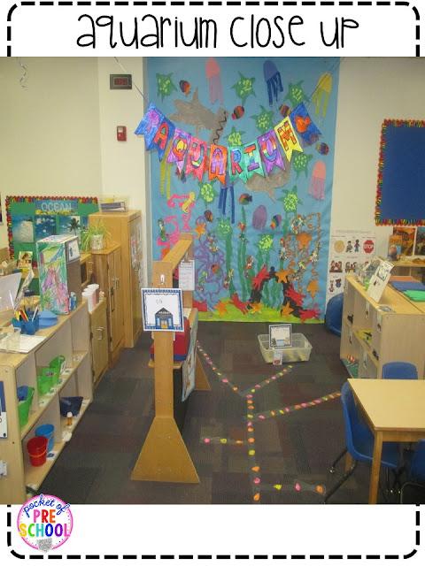 Classroom Aquarium Ideas ~ Aquarium theme in the dramatic play center pocket of