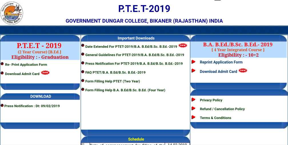Rajasthan PTET Admit Card 2019 Download