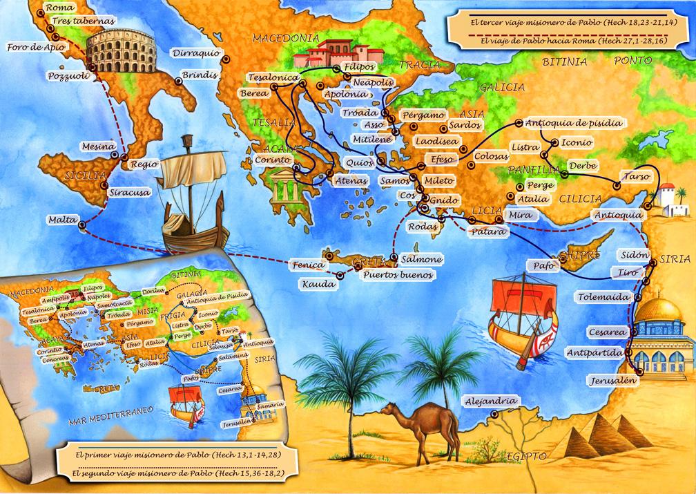 Más BIBLIA: Viajes del Apóstol Pablo - (Mapas)