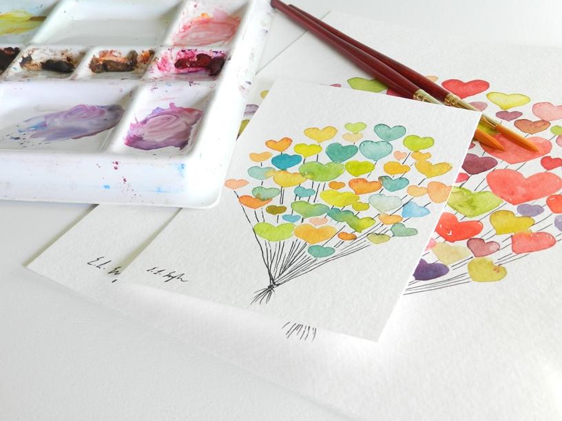 Watercolor Heart Balloons-Valentine's Art: Grow Creative