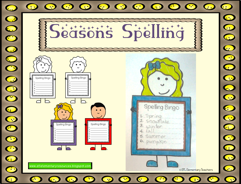 Efl Elementary Teachers Seasons Unit For Elementary Ell