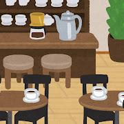 喫茶店の店内のイラスト(背景素材)