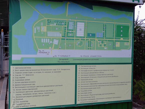 Донецк. Ботанический сад. План-схема