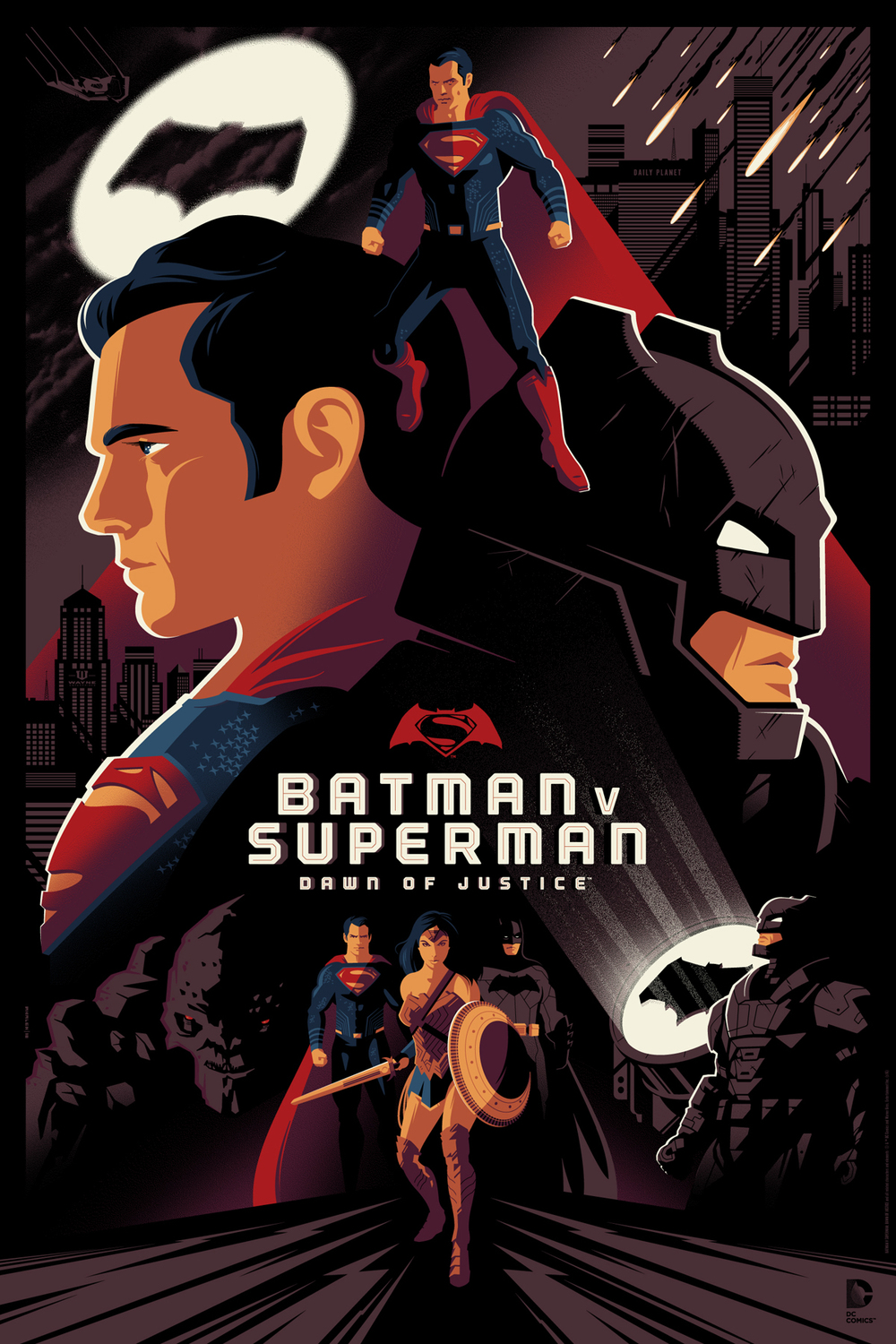 Tom Whalen Batman V Superman Dawn Of Justice Movie Poster Release From Dark Hall Mansion