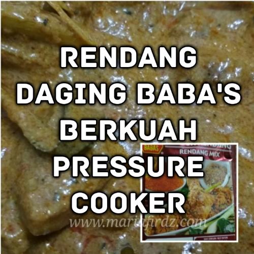 Rendang Daging Baba's Berkuah Pressure Cooker