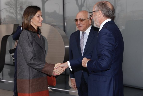 Queen Letizia wore Hugo Boss Colorina wool blend cashmere striped coat and Malivi wool blend cashmere striped skirt