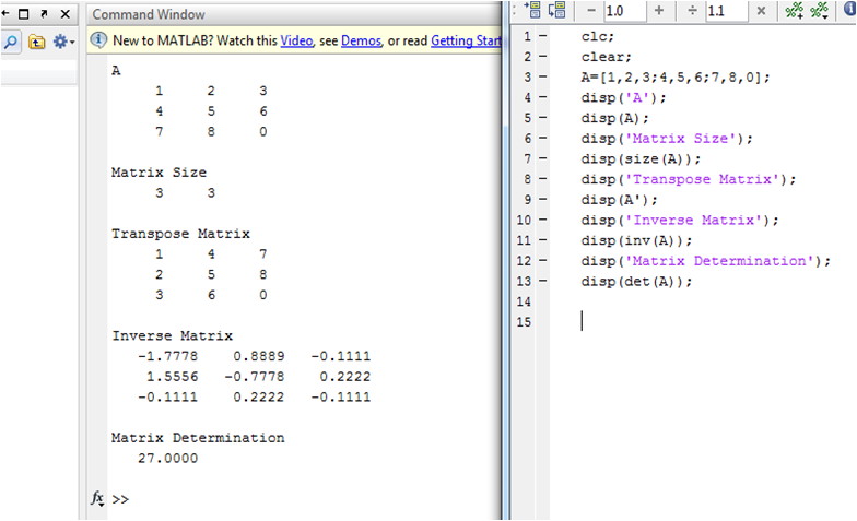Write a matlab program for a display the matrix b get for Table 2 matrix matlab