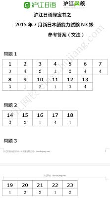 Đáp án thi năng lực tiếng Nhật JLPT N3 năm 2015 ngữ pháp