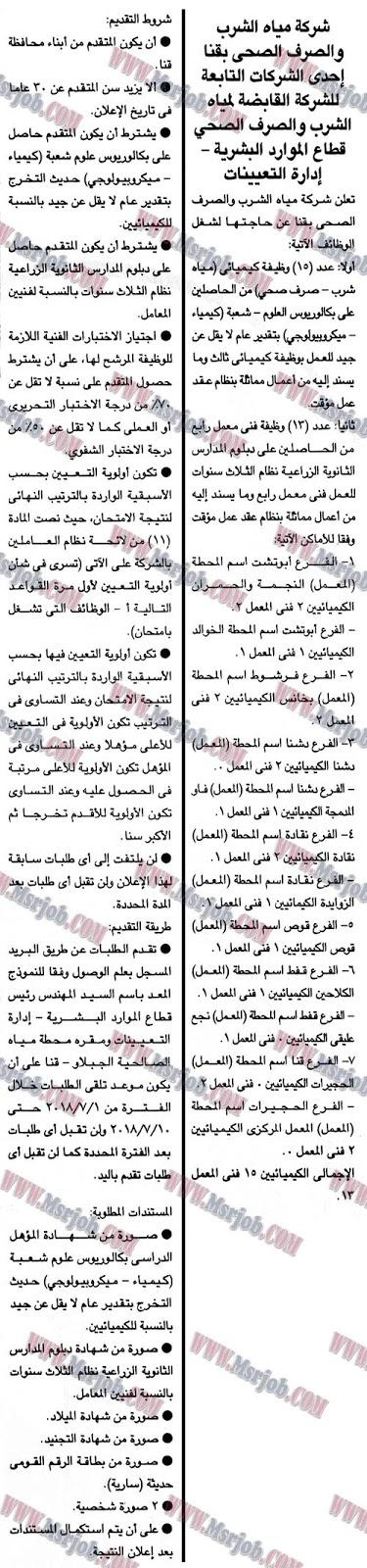 وظائف شركة مياه الشرب والصرف الصحي بقنا تطلب مؤهل عالي ودبلومات 26 / 6 / 2018