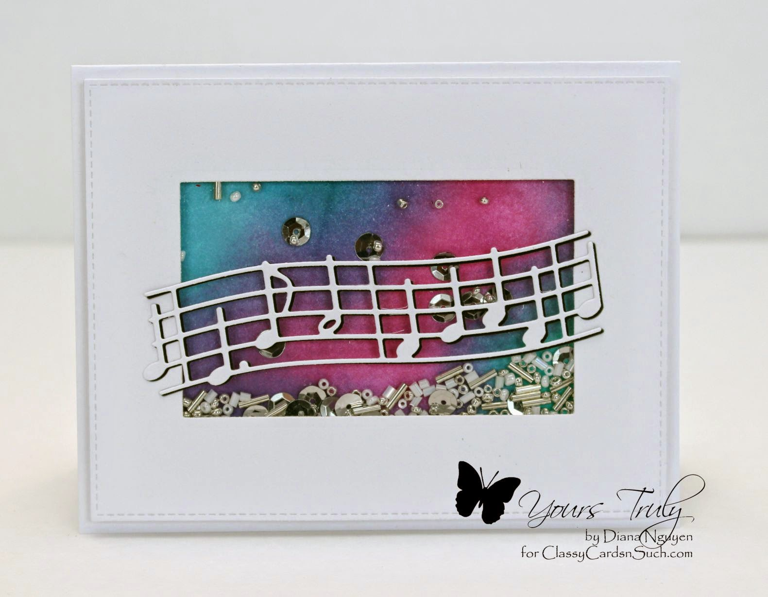 Memory Box Virtuoso Music, Shaker card, distress inks, Diana Nguyen