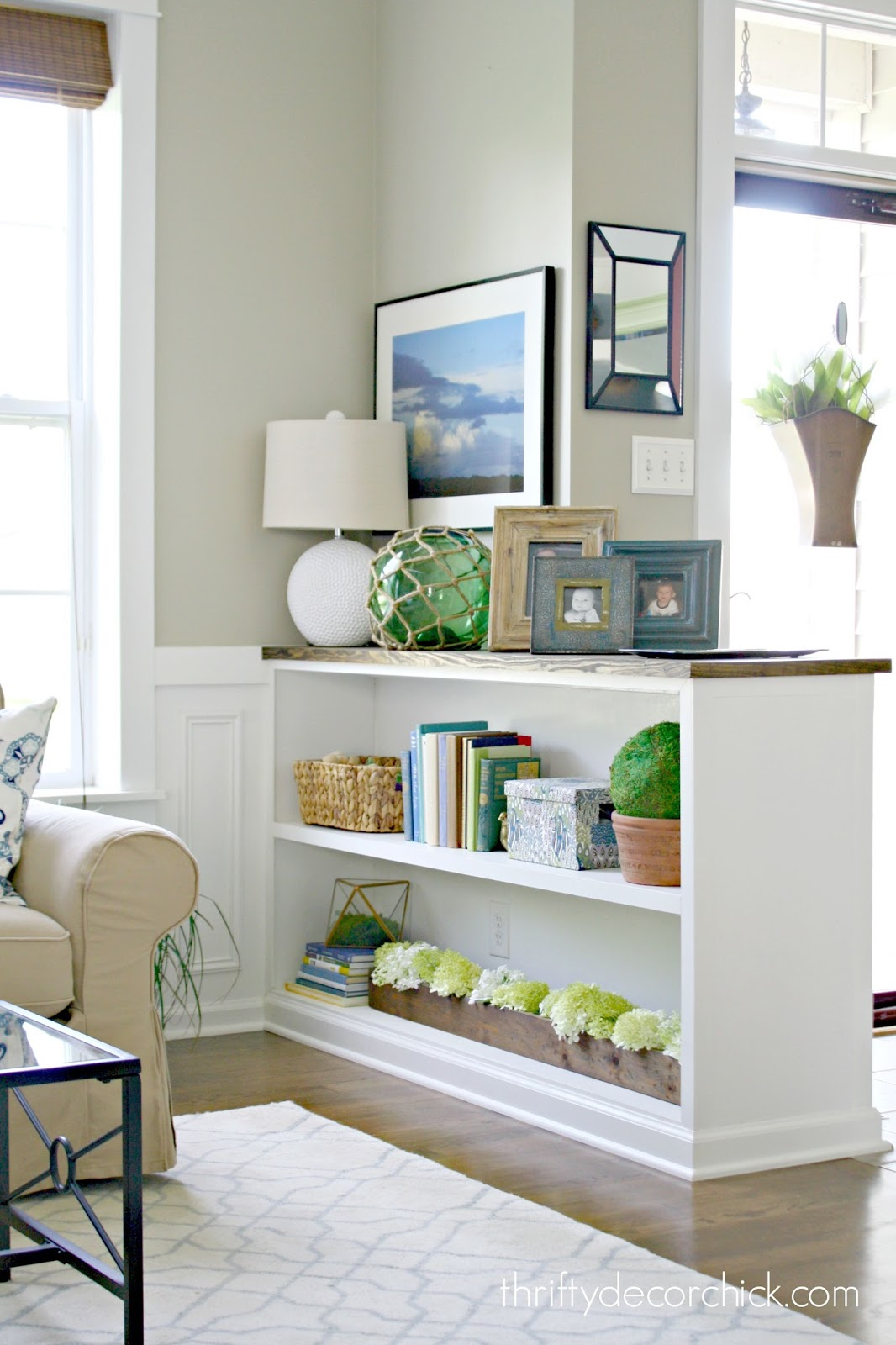 Finished Half Wall Bookcase! From Thrifty Decor Chick
