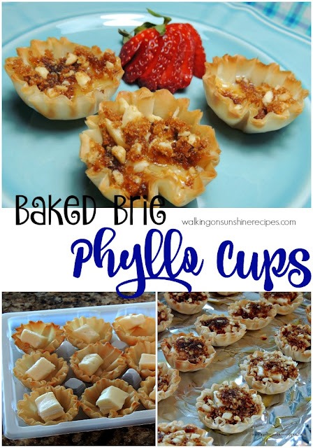Brie Filled Phyllo Cups are an easy and delicious appetizer recipe from Walking on Sunshine Recipes.
