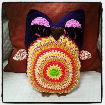 Life Is Art Art Is Life Crochet Owl Pillow 2