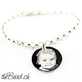 Silberarmband mit Fotogravur Anhänger ihr foto und lieblingsfoto graviert auf 925 sterling silber