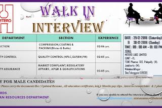 Walk in interview@Hetero pharma for multiple positions on 29 December