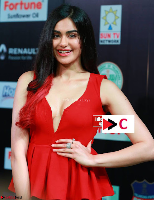Adah Sharma in Red Deep Neck Spicy Gown ~  Exclusive 04.jpg