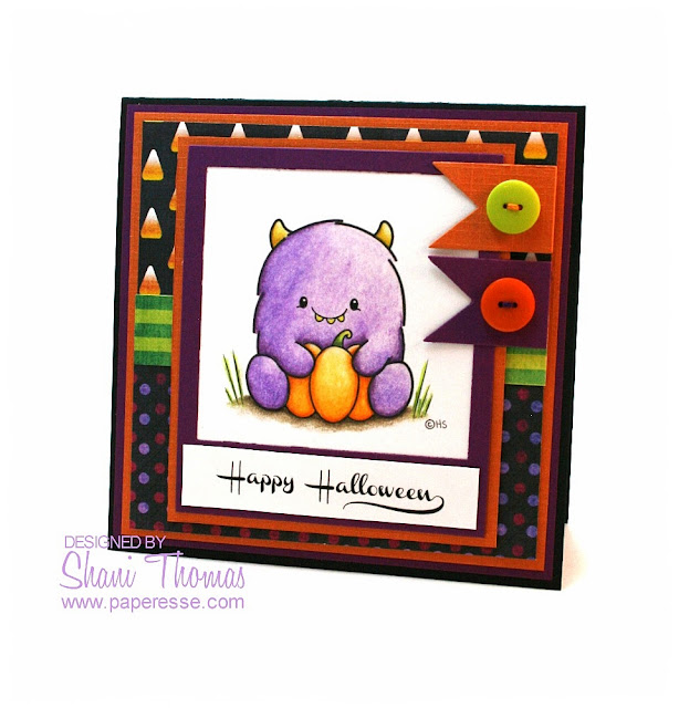 Purple 2 Cute Ink monster pumpkin Halloween card, by Paperesse.