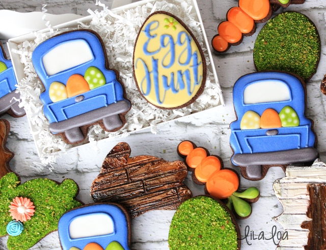Sugar cookie decorating -- Easter Truck cookies